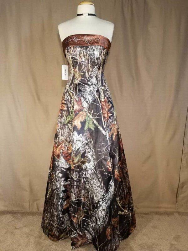Strapless Full Length Camo Dress Terri