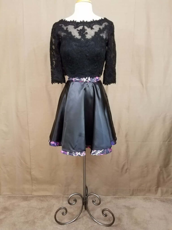 AE-B-3 21in Skater Skirt Front Outfit Camo Bridesmaid Skirt (image)
