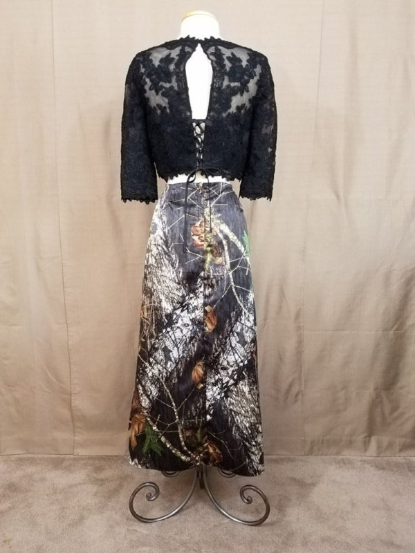 AE-B-5 Full Length Skirt Back Outfit Camo Bridesmaid Skirt (image)