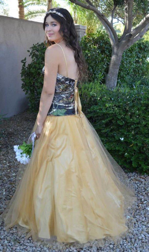 Camo Dress Full Skirt Isabella Model Side