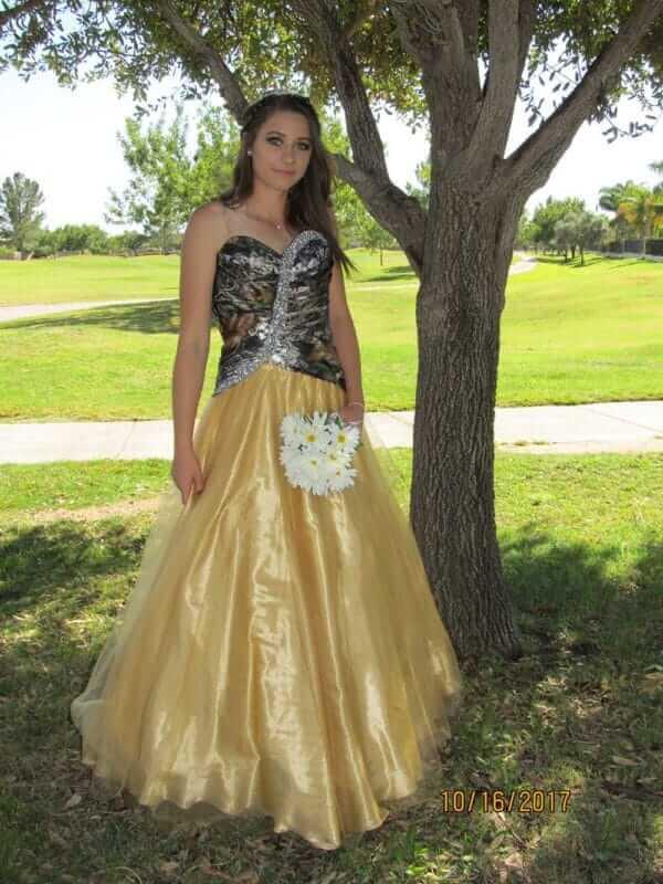 Camo Dress Full Skirt Isabella Model
