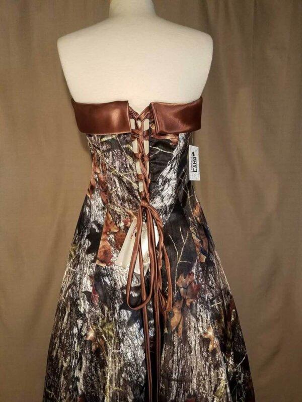Strapless Full Length Camo Dress Terri Back Details