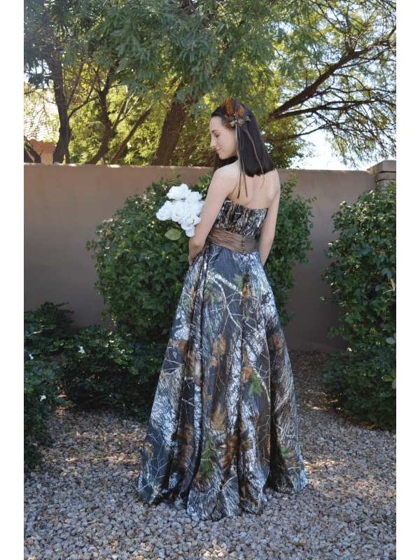olivia model full back camo bridesmaid dress (image)
