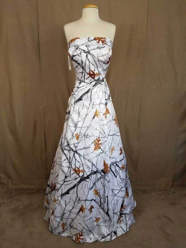 Strapless White Camo Dress Terri Front