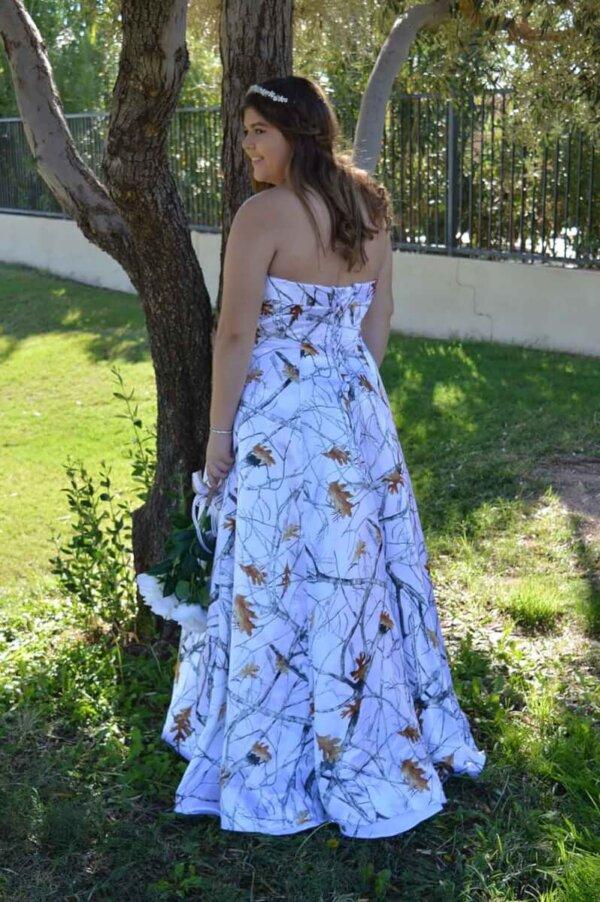 Strapless White Camo Dress Terri Back Model