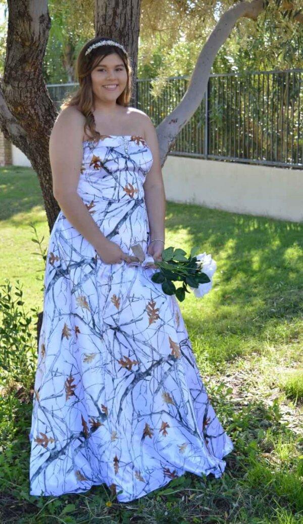 Strapless White Camo Dress Terri Front Model