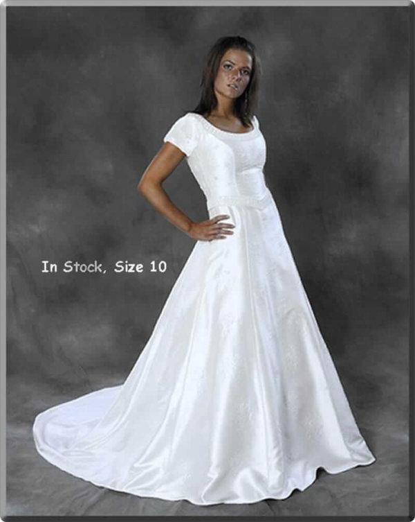 Modest Wedding Gown Hannah on Model