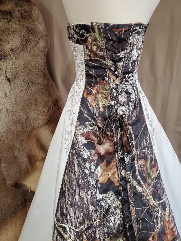 Camo trim wedding dress Elizabeth Back