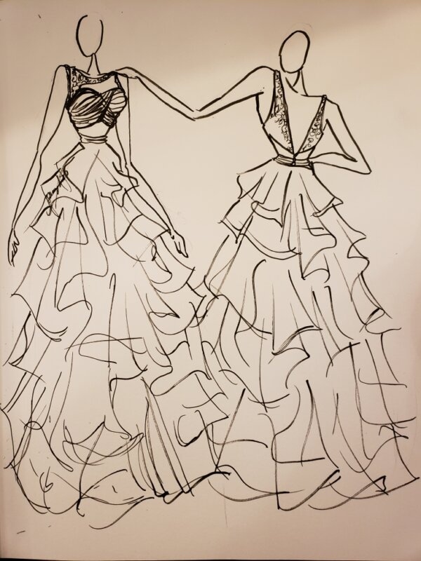 Bridal gown concept sketch