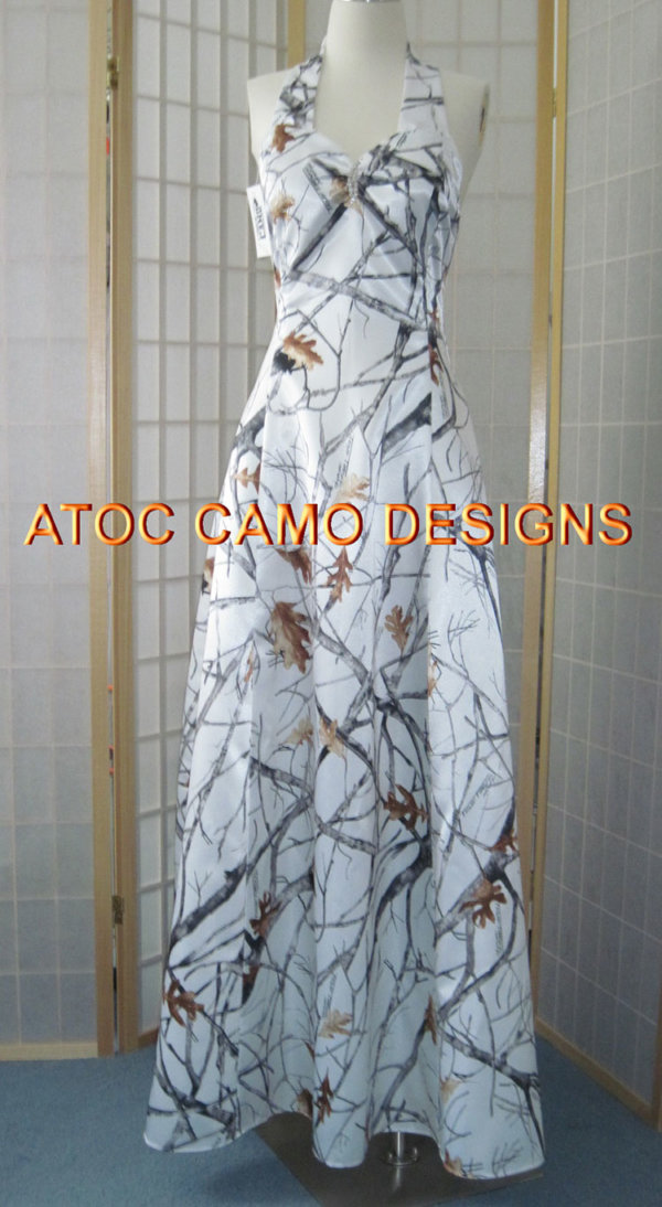 AE-19 Erica Full Front True Timber Snow Fall Camo Bridesmaid Dress (image)