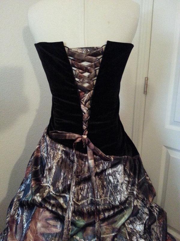 AE-25 Braley Corset Back Option Mossy Oak Break Up Camo Bridesmaid Dress (image)