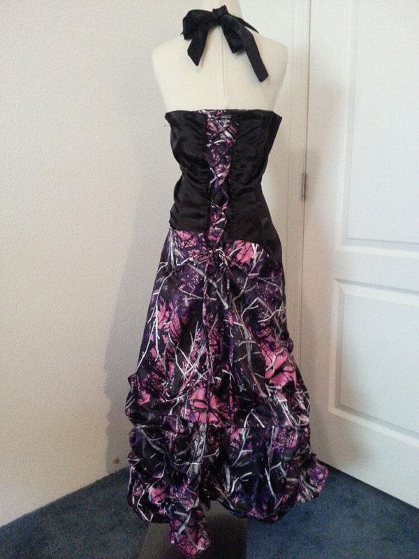 AE-25 Braley Full Back Long Skirt Option No Crinoline Muddy Girl Camo Bridesmaid Dress (image)