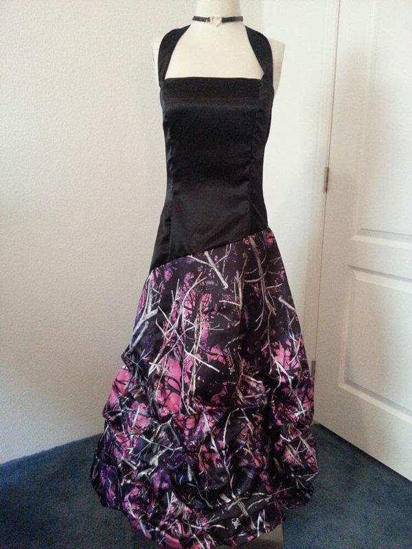 AE-25 Braley Full Front Long Skirt Option No Crinoline Muddy Girl Camo Bridesmaid Dress (image)